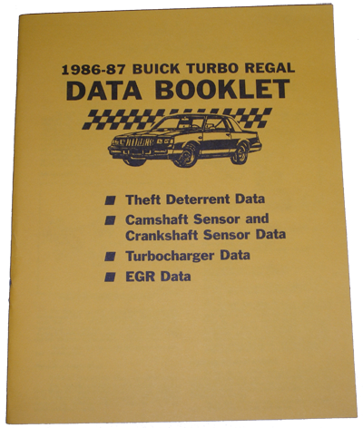 Data Booklet 1986-87 Buick Turbo Regal