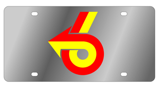 License Plate - Turbo 6 Logo - Stainless