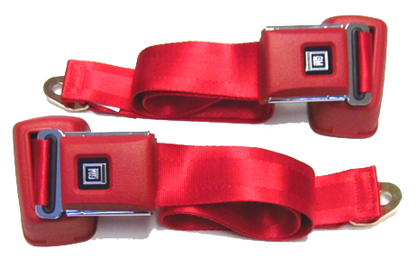 Seat Belt Set 1961-75 GM Style Red Retra