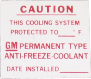 Antifreeze Decal 1963-75