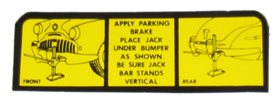 Jack Instructions Decal 1942-48 Buick