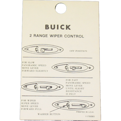 Windshield Wiper Tag 1957-58 Buick