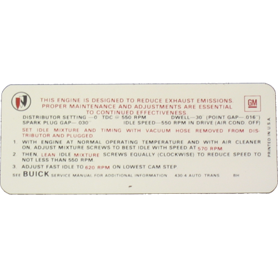 Emissions Decal 1967-69 Buick 430