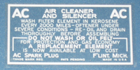 Air Cleaner Decal 1932-36