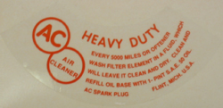 Air Cleaner Decal 1946-53 Buick