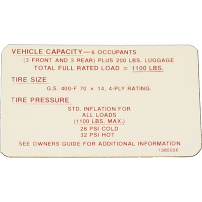 Tire Pressure Decal 1968 GS 400