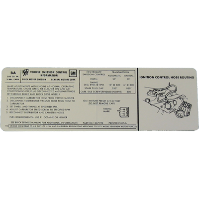 Emissions Decal 1971 Buick 350-2V AT