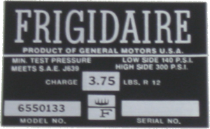 A/C Compressor Decal 1965 Frigidaire