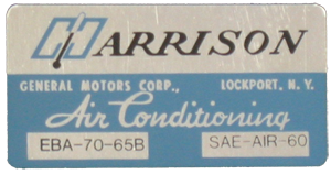 A/C Box Decal 1965 Harrison