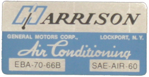 A/C Box Decal 1966 Harrison