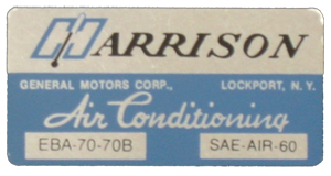 A/C Box Decal 1970 Harrison