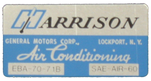 A/C Box Decal 1971 Harrison