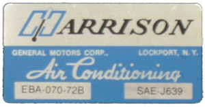 A/C Box Decal 1972 Harrison