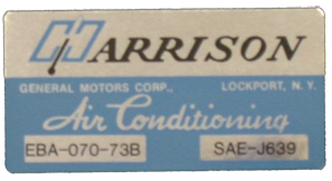 A/C Box Decal 1973 Harrison