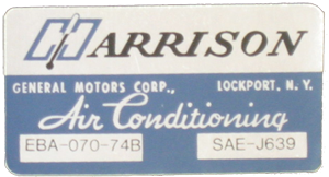 A/C Box Decal 1974 Harrison