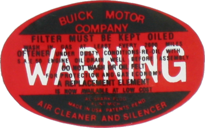 Air Cleaner Decal 1936-46 Buick