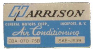 A/C Box Decal 1975 Harrison