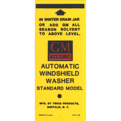 Windshield Washer Bracket Decal 1941-58