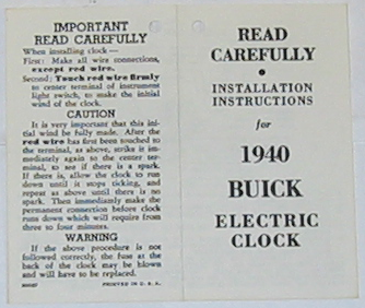 Clock Instructions Booklet 1940 Buick