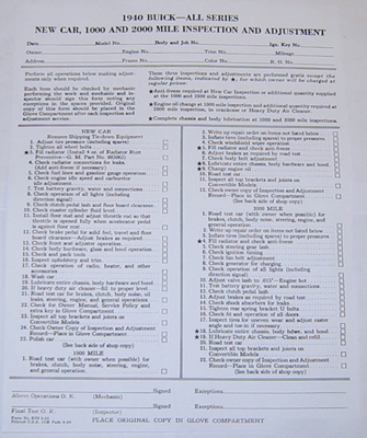 Inspection/Adjustment Sheet 1940 Buick