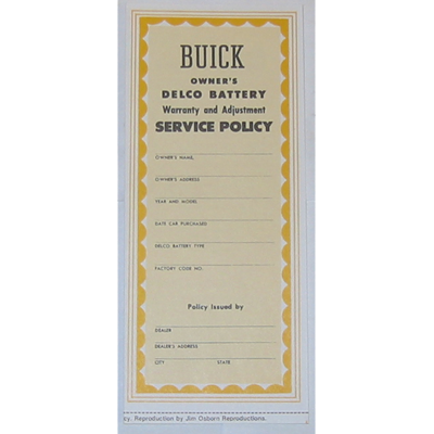 1936-54 Buick Owners Card; New