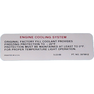 Cooling System Decal 1970-72