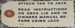 Jack Instructions Tag 1956-57 Buick