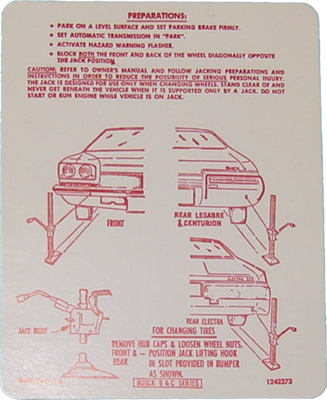Jack Instructions Decal 1973 Buick