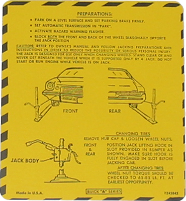 Jack Instructions Decal 1974 Buick Regal