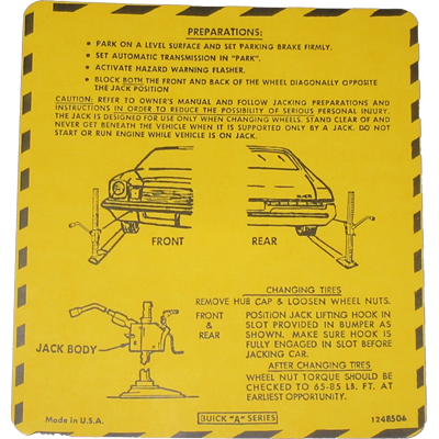 Jack Instructions Decal 1975 Buick Regal