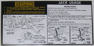 Jack Instructions Decal 1975-78 Buick Ap