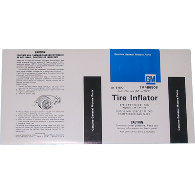 Tire Inflator Decal 1973-77 Buick
