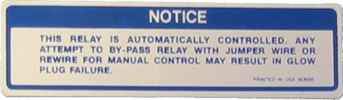 Glow Plug Caution Decal 1980-83 Buick