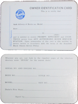Buick Owners Identification Card