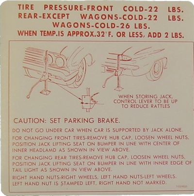 Jack Instructions Decal 1962 Buick