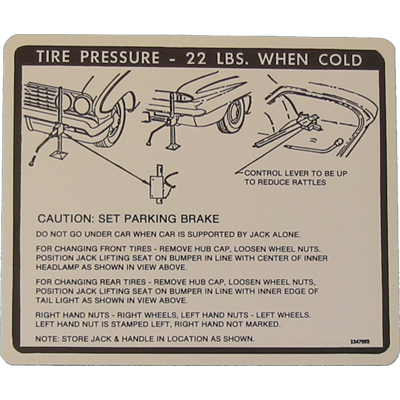 Jack Instructions Decal 1961 Buick