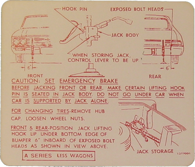 Jack Instructions Decal 1966 Buick