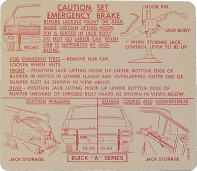 Jack Instructions Decal 1967 Buick