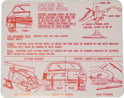 Jack Instructions Decal 1968-69 Buick