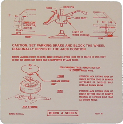 Jack Instructions Decal 1971 Buick