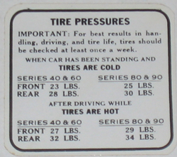 Tire Pressure Decal 1936 Buick
