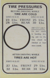 Tire Pressure Decal 1937 Buick