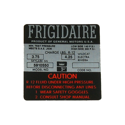 A/C Compressor Decal 1966 Frigidaire