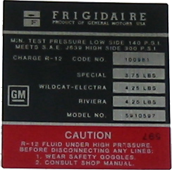 A/C Compressor Decal 1970 Frigidaire