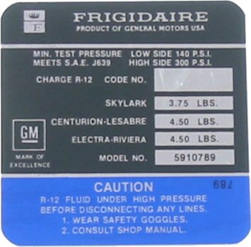 A/C Compressor Decal 1972 Frigidaire