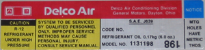 A/C Compressor Decal 1979 Delco