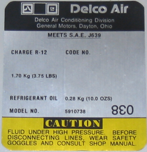 A/C Compressor Decal 1981