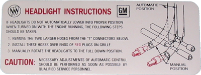 Headlight Instruction Decal 1968-69