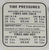 Tire Pressure Decal 1938 Buick