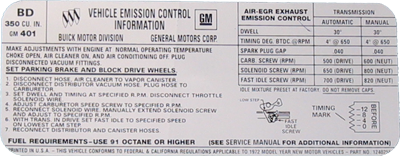 Emissions & Tune-up Decal 1972 Buick